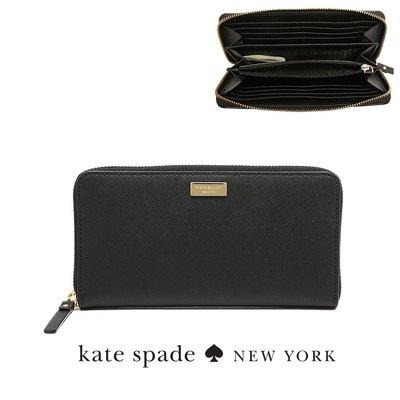 新款KATE SPADE logo飾牌 素色防刮皮革 WLRU2669多功能大容量長夾素面黑色現貨↗小夫妻精品嚴選↖