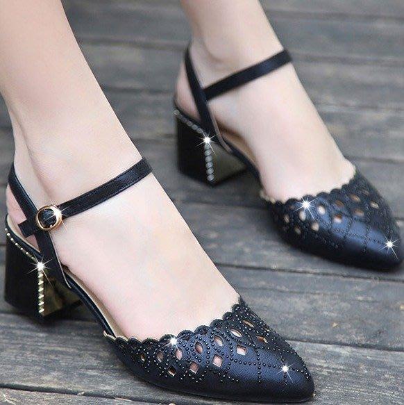 ~Linda~夏新款真皮涼鞋女夏中跟尖頭包頭粗跟女鞋