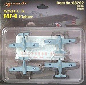 Merit 1/200 美國海軍 航母 F4F-4野貓艦載機 (4架) 68202 完成品