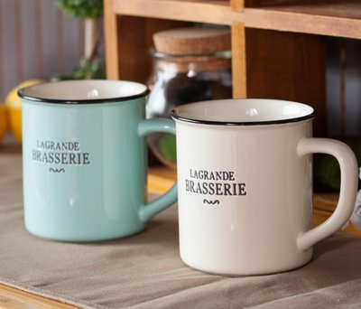 zakka鄉村風陶瓷馬克杯  藍色  白色  陶瓷馬克杯  水杯  咖啡杯  茶杯  鄉村風【小雜貨】