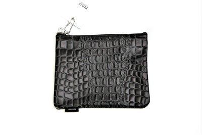 【 PUNX 】PUNX 17AW COWHIDE LEATHER POUCH 全黑牛皮包收納袋手拿包