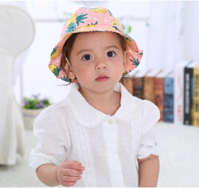 現貨~春夏兒童漁夫防曬黑花邊帽子 卡通帽可愛太陽盆帽子(鳳梨粉色)