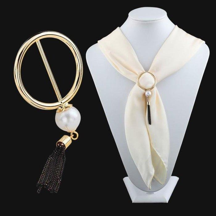 日韓高檔小絲巾扣女圓形珍珠日字扣衣角打結扣兩用簡約方巾扣配飾