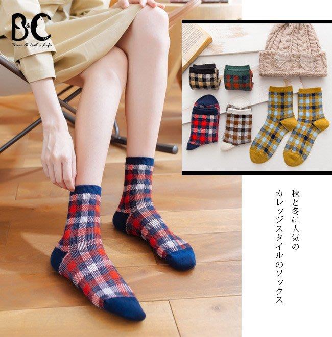 女襪 日系格紋中筒襪子短襪【B&C】