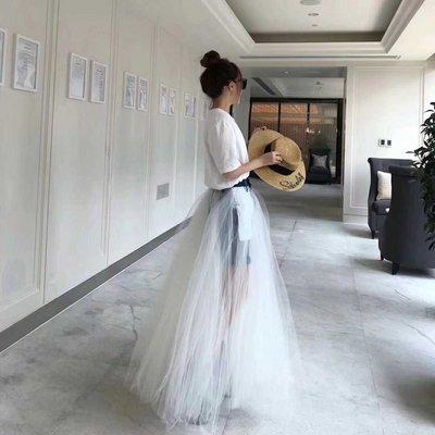 牛仔長裙丹寧牛仔裙正韓版2018夏季新...