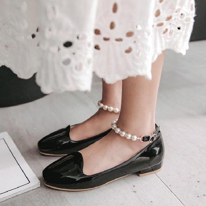 日和生活館 甜美珍珠皮鞋少女學生低跟春夏單鞋日系娃娃鞋大童配公主裙的鞋子 449D88