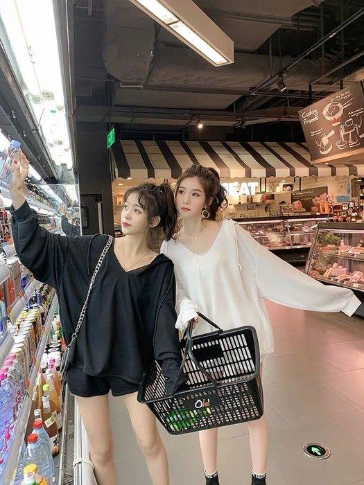 (特價)韓版寬鬆薄款兩件式套裝休閒運動寬鬆帽T短褲