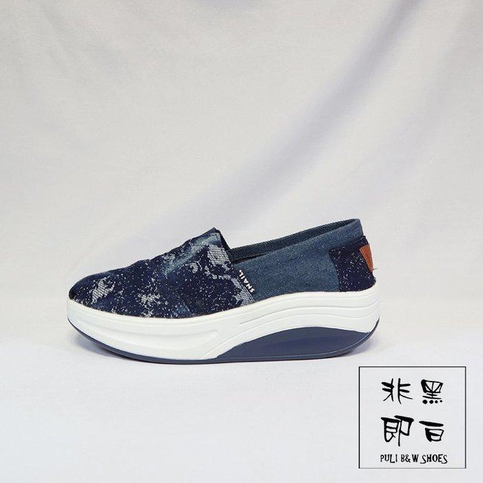 【非黑即白】SNAIL不規則牛仔刷色字母休閒鬆糕健走鞋 平底鞋 休閒鞋 藍色510178