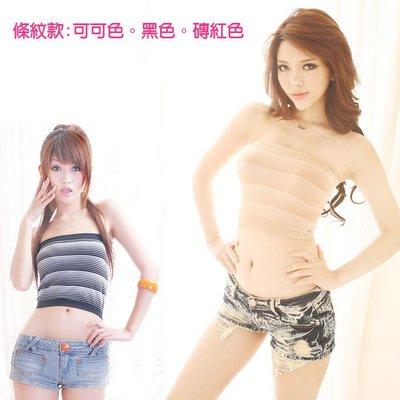 超低價~~台灣製~超彈性柔纖..條紋一片式小可愛~~[免免線購]