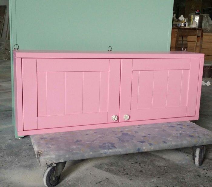 美生活館-- 鄉村家具風格 全紐西蘭松木原木 粉紅色 雙門壁櫃 收納櫃 杯架櫃 置物櫃 也可修改尺寸顏色再報價