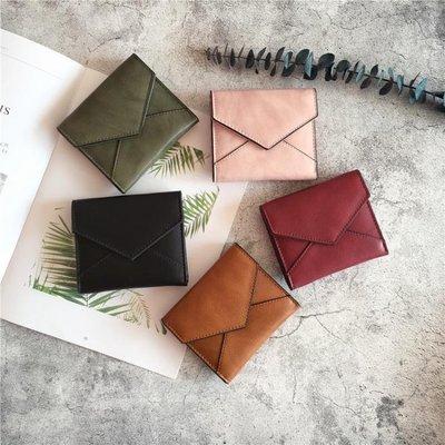 卡包小錢包女短款ins2018新款日韓版簡約純色搭扣錢夾迷你零錢包卡包    全館免運