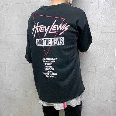 【K-2】歐美 復古 樂團 Huey Lewis 落肩 寬鬆 厚磅 兩色 短袖 短T 男女不拘 舞台 派對【SA226】