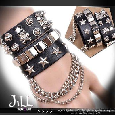 Oo吉兒oOPunk lolita時尚百搭街頭搖滾 歐美時尚骷髏鉚釘龐克手環【J1U6019】