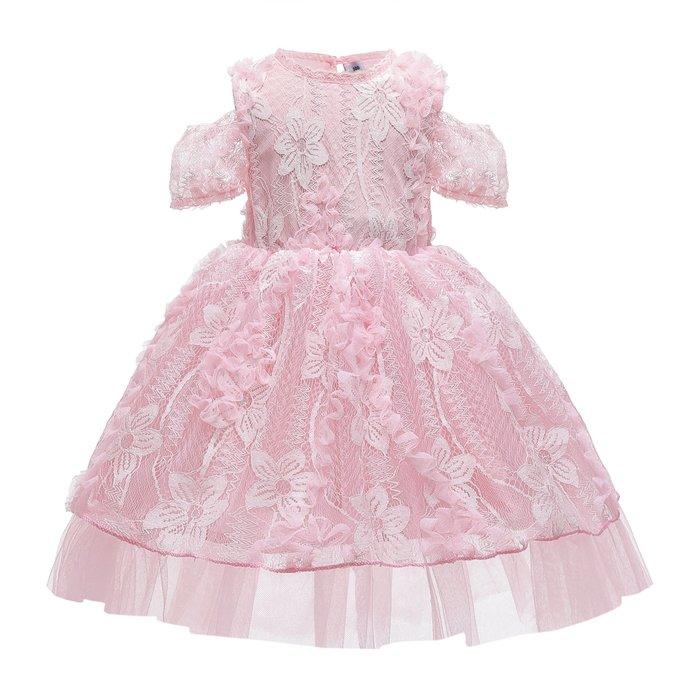 •*~ 辣媽咪衣飾小舖 ~*•❤童裝系列❤K960433韓版大童夏款甜美清新時尚蓬蓬立體花邊公主禮服公主洋裝