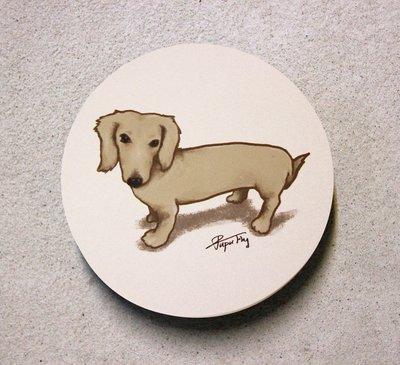 《臘腸狗-疑惑的表情》/ 原創-陶瓷吸水杯墊  / 蒼蠅星球 / 手創市集 / 奶油臘腸 / 長毛臘腸