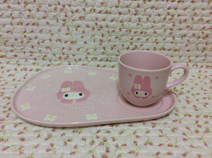 Sanrio My Melody 美樂蒂 立體浮雕造型咖啡杯盤組《日本製.1998年商品》收藏特價出清