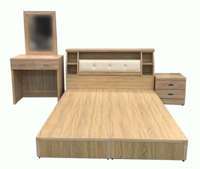 台北宏品二手家具全新中古傢俱 WG5FH*全新梧桐5X6雙人床底+床頭櫃+化妝台+床邊櫃* 二手中古 床底 床架 掀床