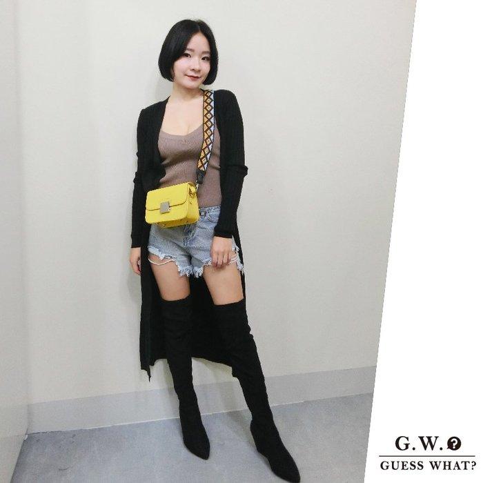 GW 黑色顯瘦薄針織長袖長版外套 罩衫 防曬外套  秋冬 薄外套  F尺寸 GUESSWHAT