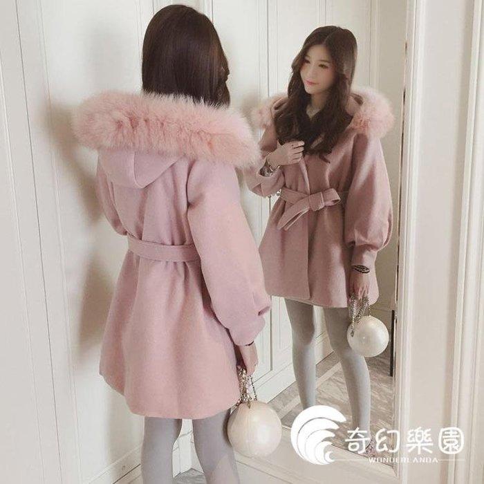 毛領外套-冬季新款chic粉色毛領小個子加厚毛呢外套女中長款收腰呢子大衣潮