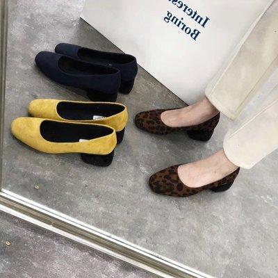 【蘑菇小隊】2019春秋新款 撞色INS風毛毛粗跟中跟毛毛鞋女加絨低跟豹紋單鞋女-MG22905