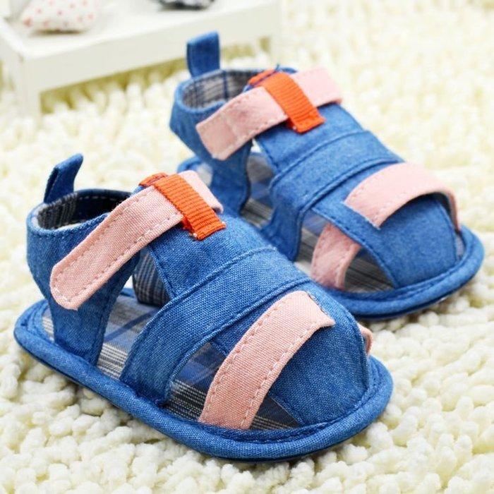 寶貝倉庫~牛仔藍軟膠涼鞋~學步鞋~寶寶鞋~學走鞋~娃娃鞋~幼兒鞋~童鞋~粘扣設計~穿脫方便~彌月贈禮
