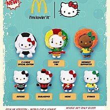 全新 McDonald's Sanrio hello kitty melody 足球 一套8隻
