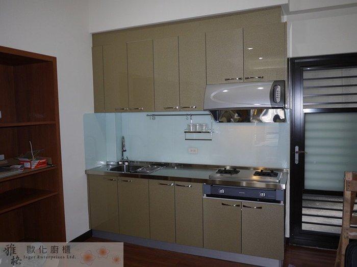 【雅格廚櫃】工廠直營~一字型廚櫃 流理台 廚具 水晶門板、含櫻花二機、不鏽鋼檯面