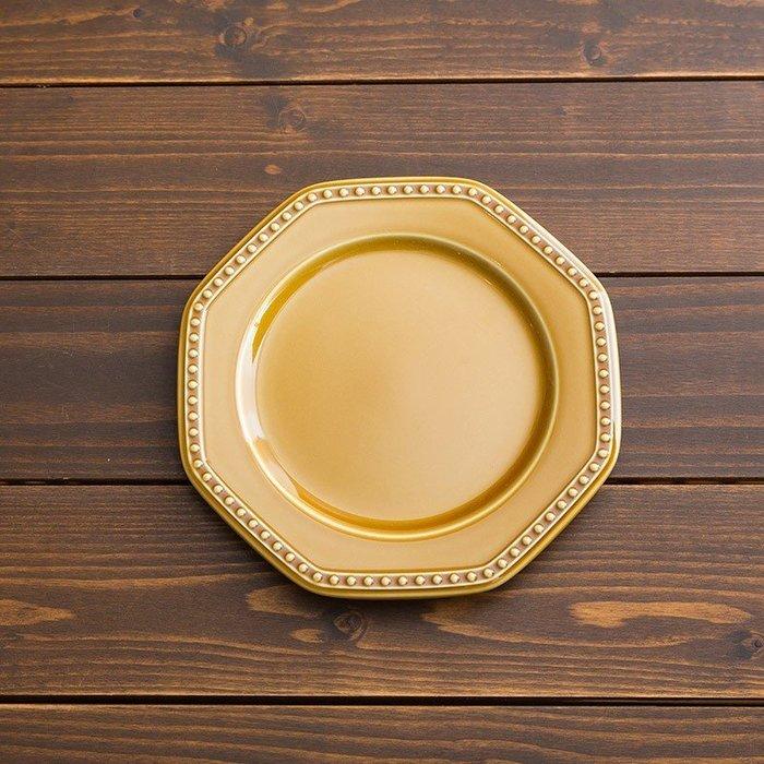 [偶拾小巷] 日本製 美濃燒 ROOTS Coline 歐式八角型餐盤19cm - 黃色
