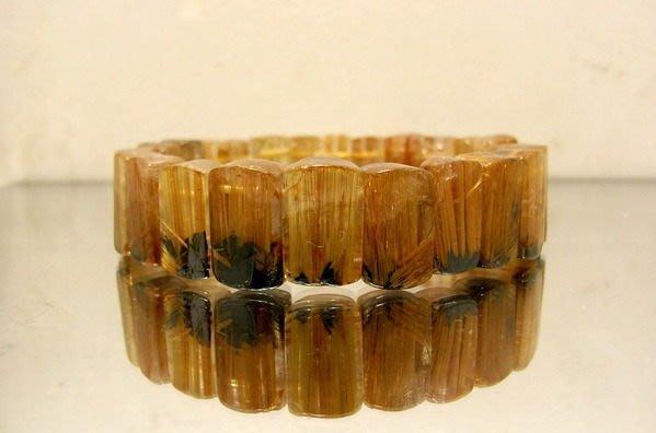 小風鈴~天然頂級15mm黃金滿絲粗版鈦晶手排~淨重43g 大手圍:19cm