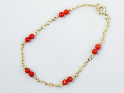 紅珊瑚手鍊 圓珠手鍊  天然沙丁紅珊瑚 輕珠寶 14K包金 附保證書 【大千珠寶】