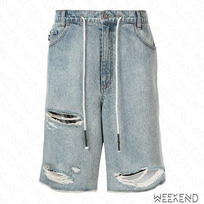 【WEEKEND】 MOSTLT HEARD RARELY SEEN MHRS 異材質拼接 特殊剪裁 牛仔 短褲