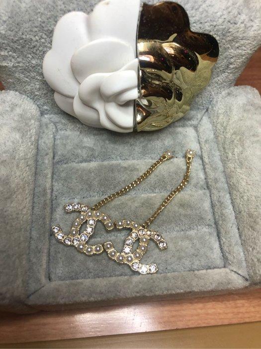 香奈兒 CHANEL 經典 二手 珍珠 水鑽 垂墜 耳環