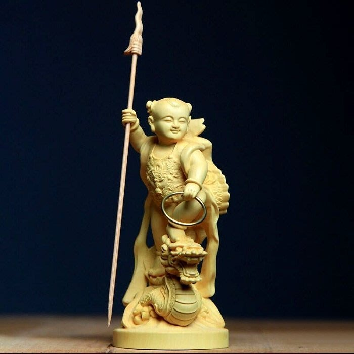 【睿智精品】三太子 李哪吒 太子爺 中壇元帥 木雕擺件 黃楊木(GA-5147)