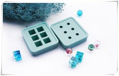☆荳荳龍~DIY手作黏土☆ 6孔綠色 圓球體 正方體 水晶膠模具 滴膠模 UV膠模具(單入)