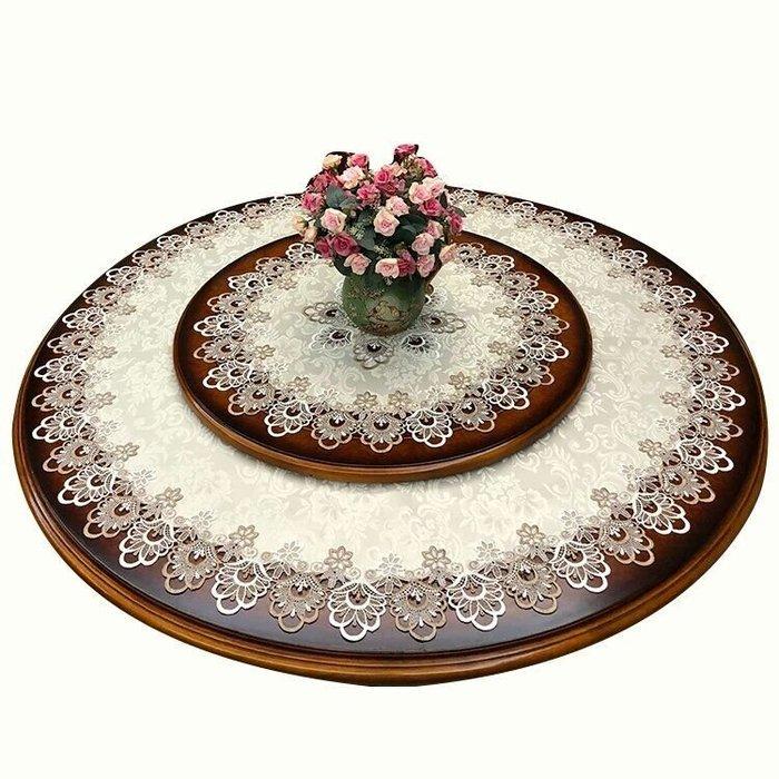 粉紅玫瑰精品屋~歐式高檔奢華田園繡花雙色縷空布藝桌布~90公分