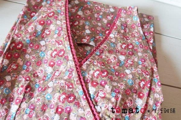 ˙TOMATO生活雜鋪˙日本進口雜貨棉質玫瑰朵朵花開綁帶型斜口袋圍縮腰裙