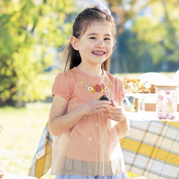 Co媽日本精品代購 預購 日本 正版 迪士尼 最新 迪士尼公主 軟紗拼接 純棉 T恤 童裝 90~140