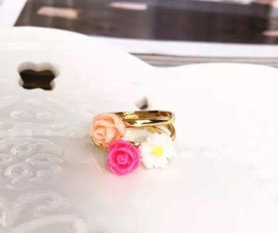 (清貨$10 一套3隻)(原價$20)新款 韓版 簡單 金色 超美 花朵 小菊花 開口 介子 戒指 百搭 時尚 (滿$60包郵)(郵費$5)
