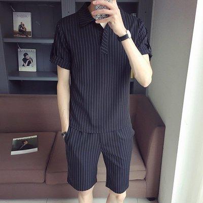 休閒套裝男夏季潮牌條紋短袖修身正韓潮流短褲一套搭配帥氣二件套