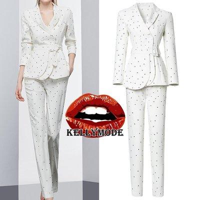 ♥kellymode♥全新20早秋新款 優雅氣質 白色波點 收腰雙排扣 長袖翻領 西裝外套+直筒窄管長褲 西裝 套裝