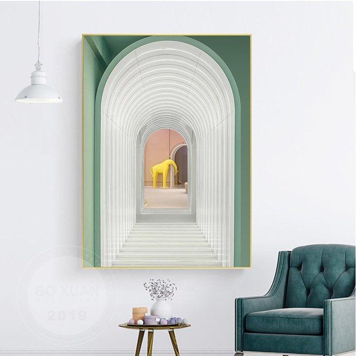 北歐小清新簡約建築藝術裝飾畫畫心拱門藝術文藝範玄關掛畫畫芯(3款可選)