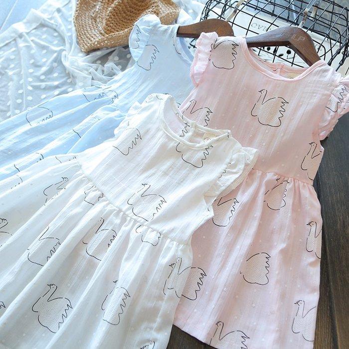 夏裝 女童卡通天鵝印花圓領短袖收腰 連身裙 百褶公主裙