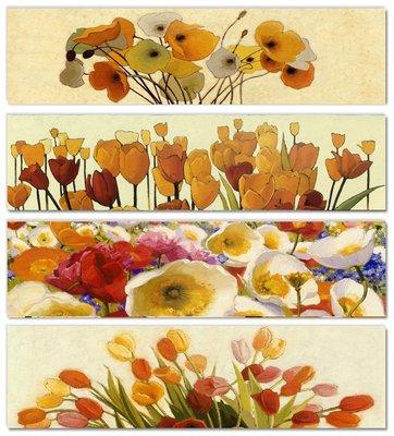 歐美式床頭畫花卉裝飾畫畫芯橫長款沙發背...