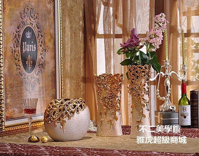 【格倫雅】歐式陶瓷磨砂金色花瓶花器擺件 家居裝飾品工藝品 客廳擺件2662[g-l-y61