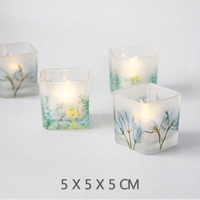 熱銷#簡美5CM彩色印花方形玻璃燭臺浪漫燭光晚餐裝飾擺設送電子蠟燭#燭臺#裝飾