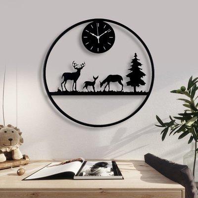時鐘 掛鐘 掛鐘客廳個性創意時尚新中式大掛表藝術裝飾壁掛鹿頭時鐘家用鐘表