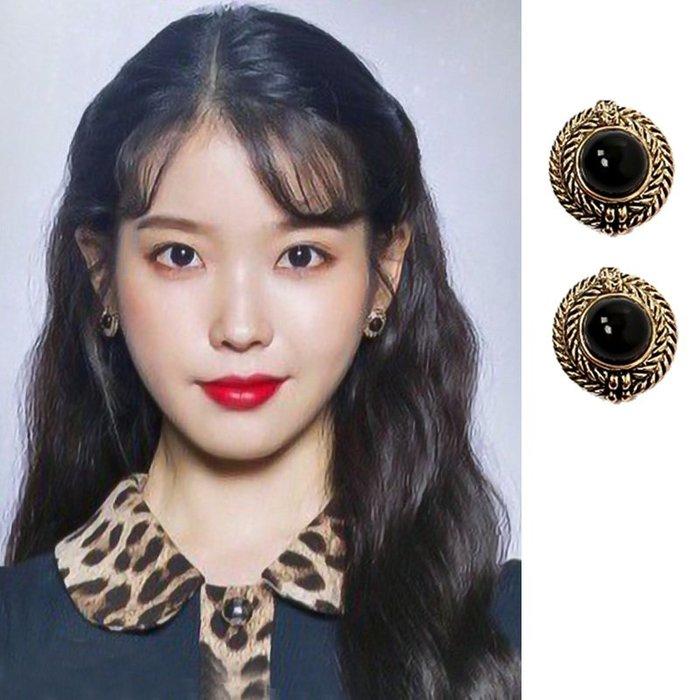 預購-韓劇同款德魯納酒店IU同款耳環復古黑色高級感耳釘2019新款潮個性網紅法式