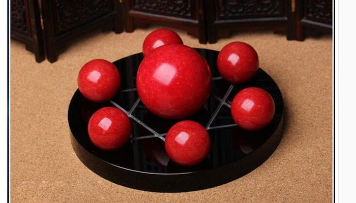 開光天然紅紋石 水晶球黃粉紫白七星陣 擺件穩固桃花旺愛情招財轉運