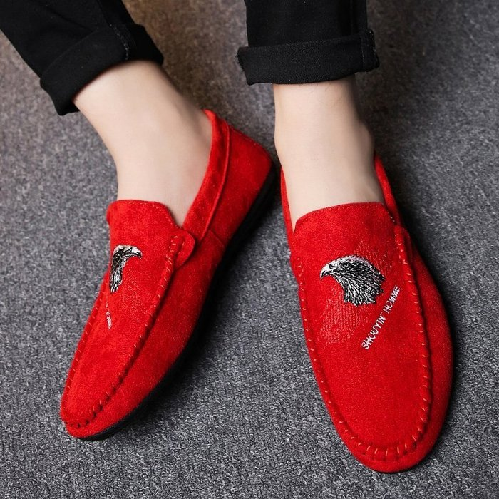 冬天加絨豆豆鞋男韓版潮休閑精神社會小伙懶人鞋快手紅人紅色春季