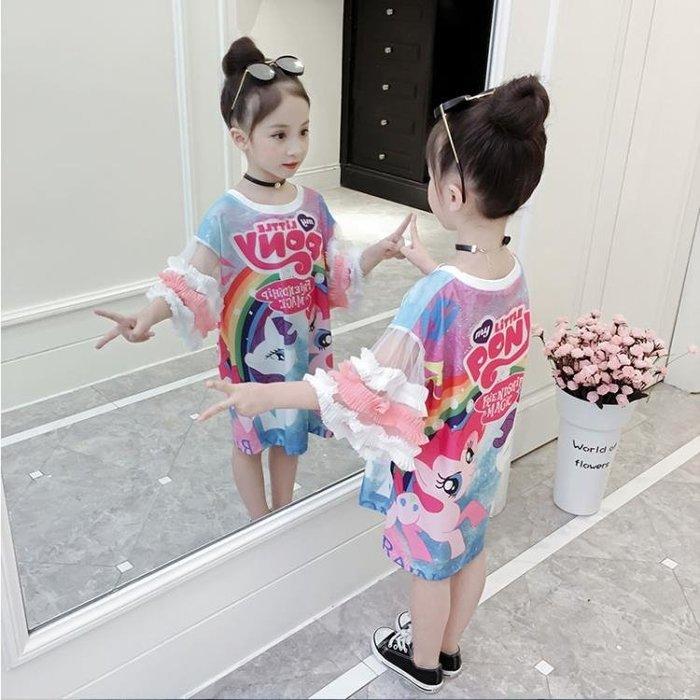 女童2018夏季新款裙子洋氣女寶寶彩虹小馬印花連衣裙中大童長T潮一件免運